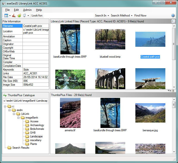 LibraryLink document and image management software main user interface