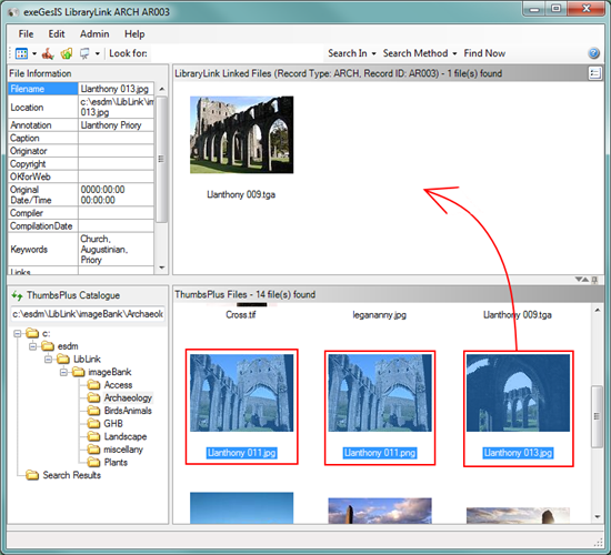 LibraryLink document and image management software thumbnails view