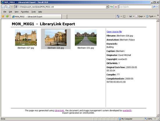 LibraryLink browser view of exported XML and images